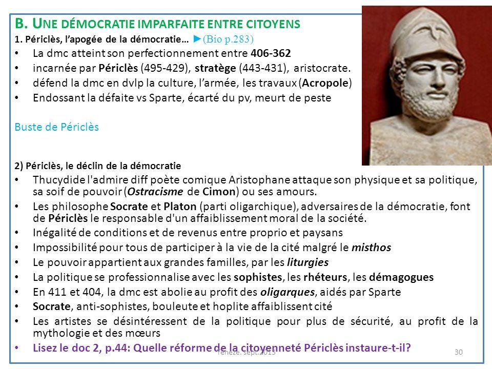 B. Une démocratie imparfaite entre citoyens