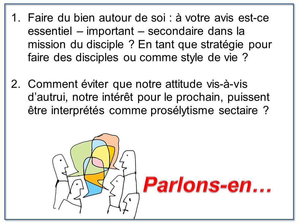 Faire du bien autour de soi : à votre avis est-ce essentiel – important – secondaire dans la mission du disciple En tant que stratégie pour faire des disciples ou comme style de vie
