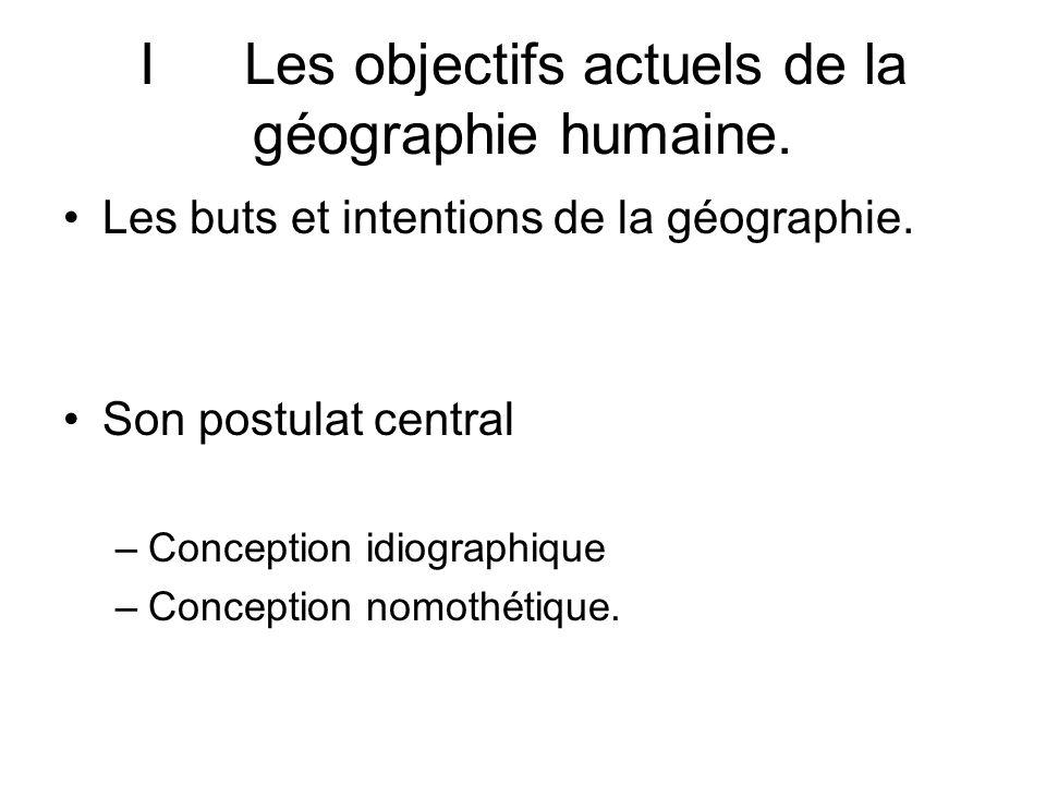 I Les objectifs actuels de la géographie humaine.