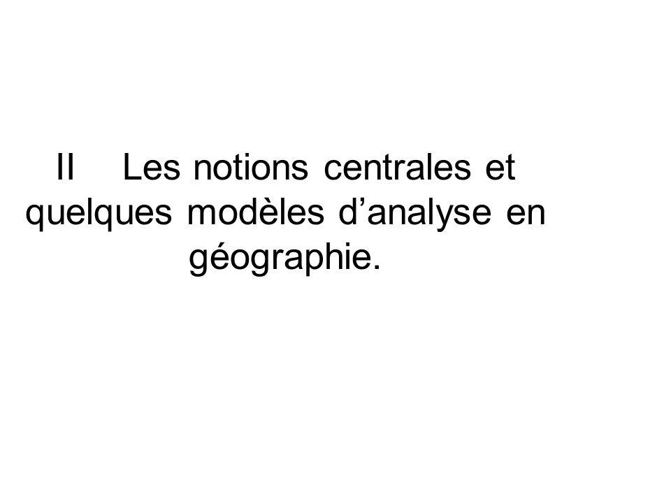 II Les notions centrales et quelques modèles d'analyse en géographie.