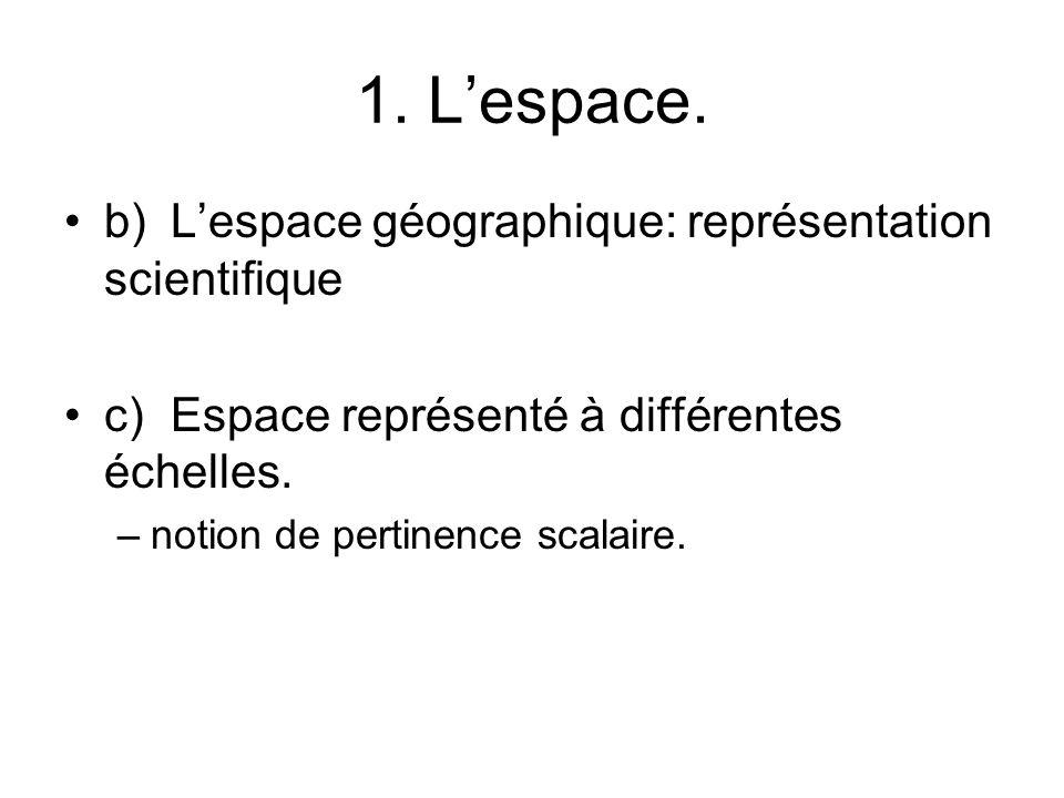 1. L'espace. b) L'espace géographique: représentation scientifique