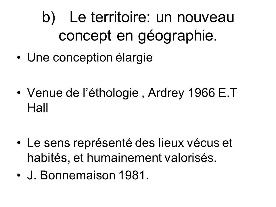 b) Le territoire: un nouveau concept en géographie.