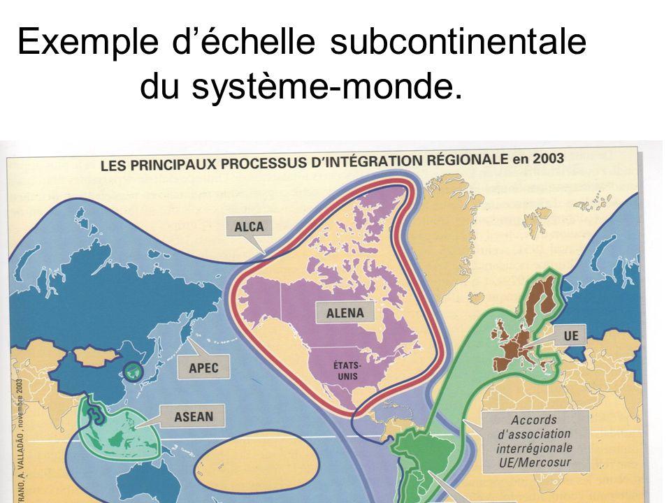 Exemple d'échelle subcontinentale du système-monde.