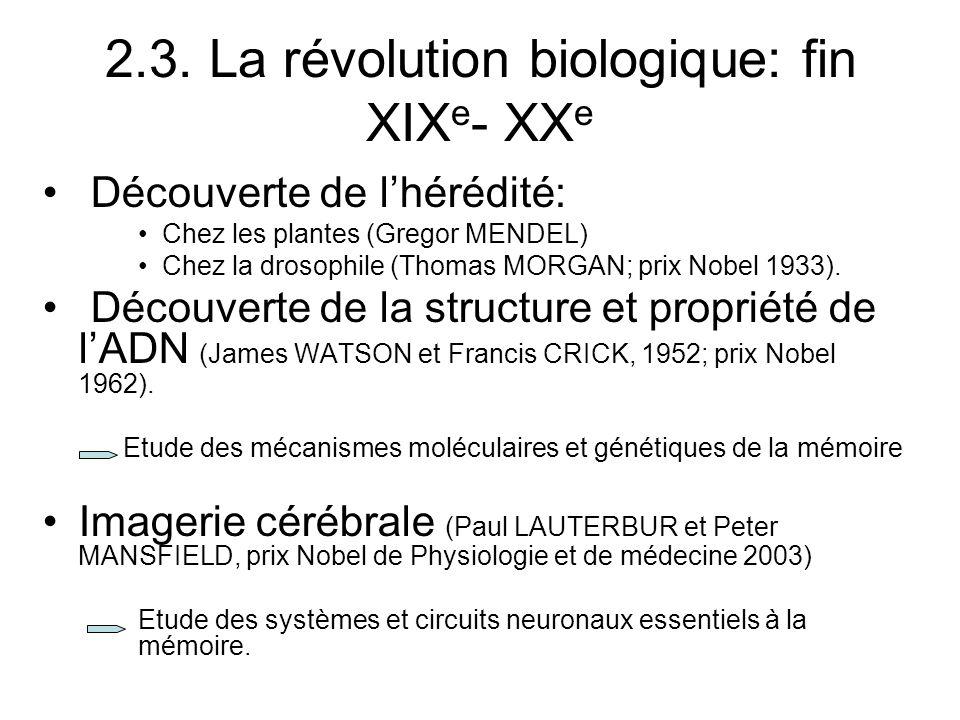 2.3. La révolution biologique: fin XIXe- XXe