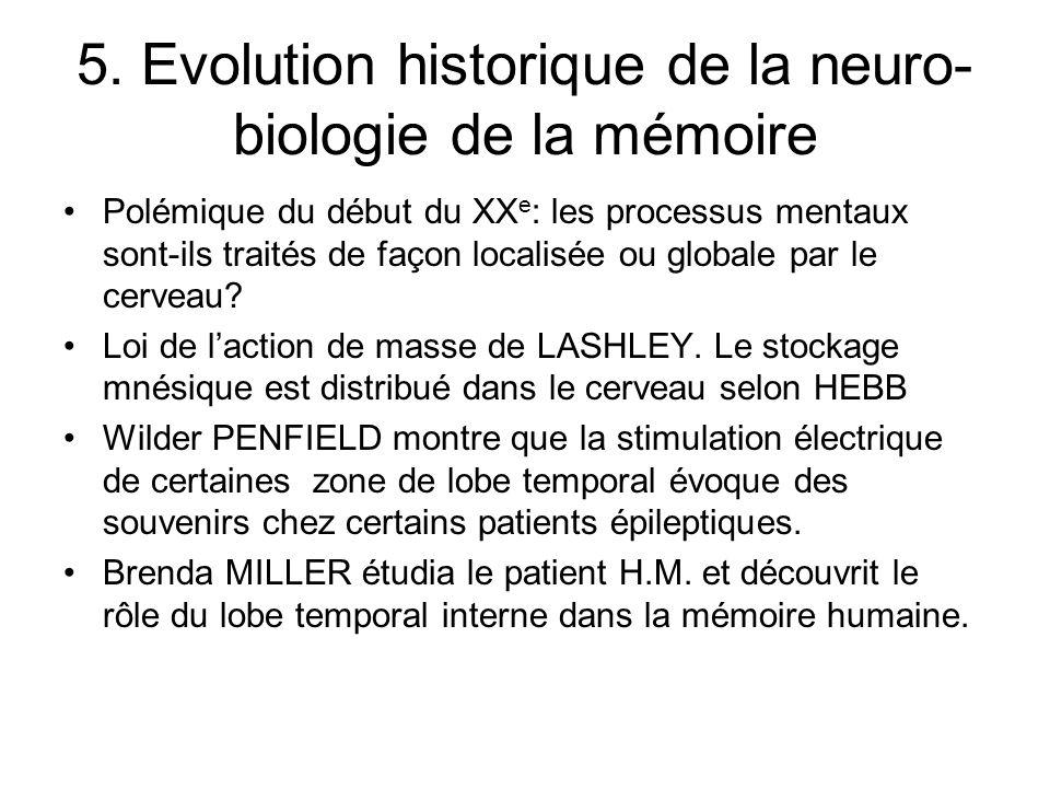 5. Evolution historique de la neuro-biologie de la mémoire