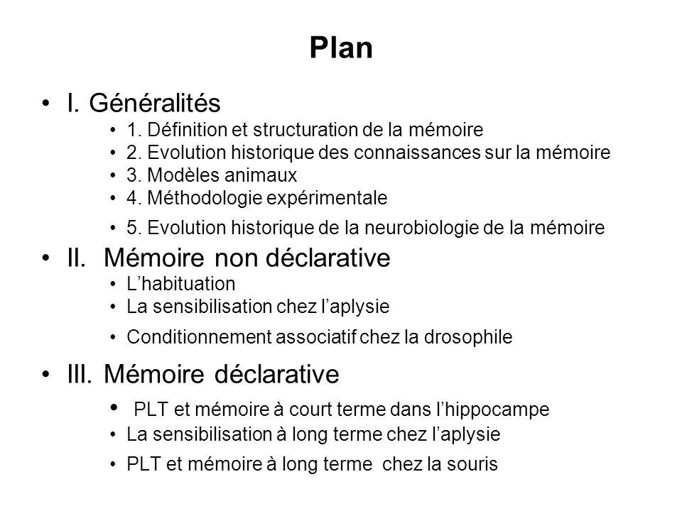 Plan I. Généralités II. Mémoire non déclarative