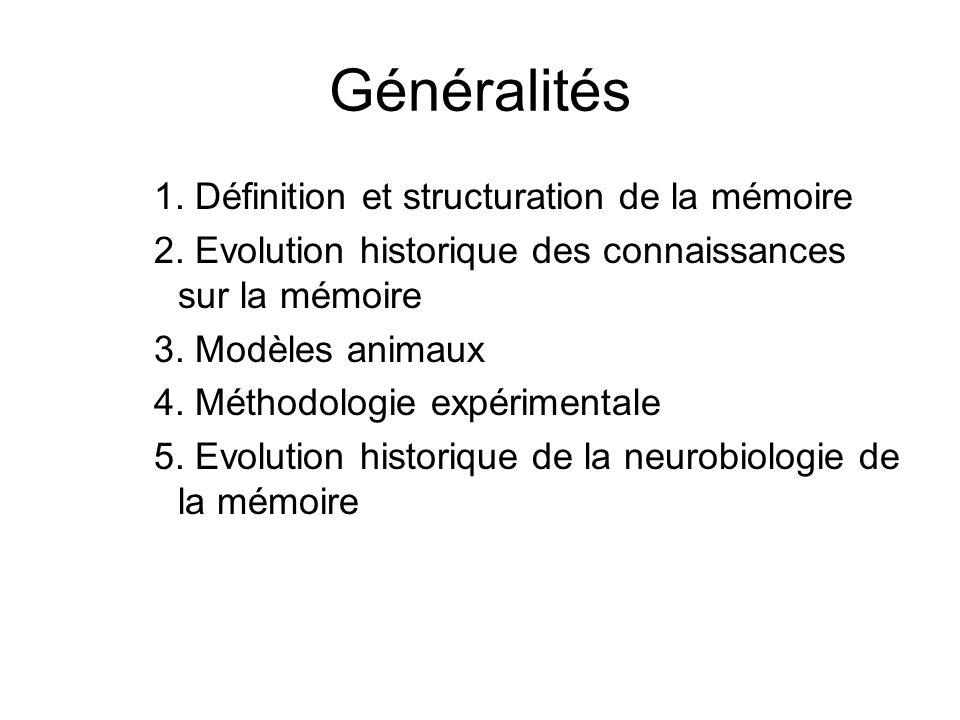 Généralités 1. Définition et structuration de la mémoire