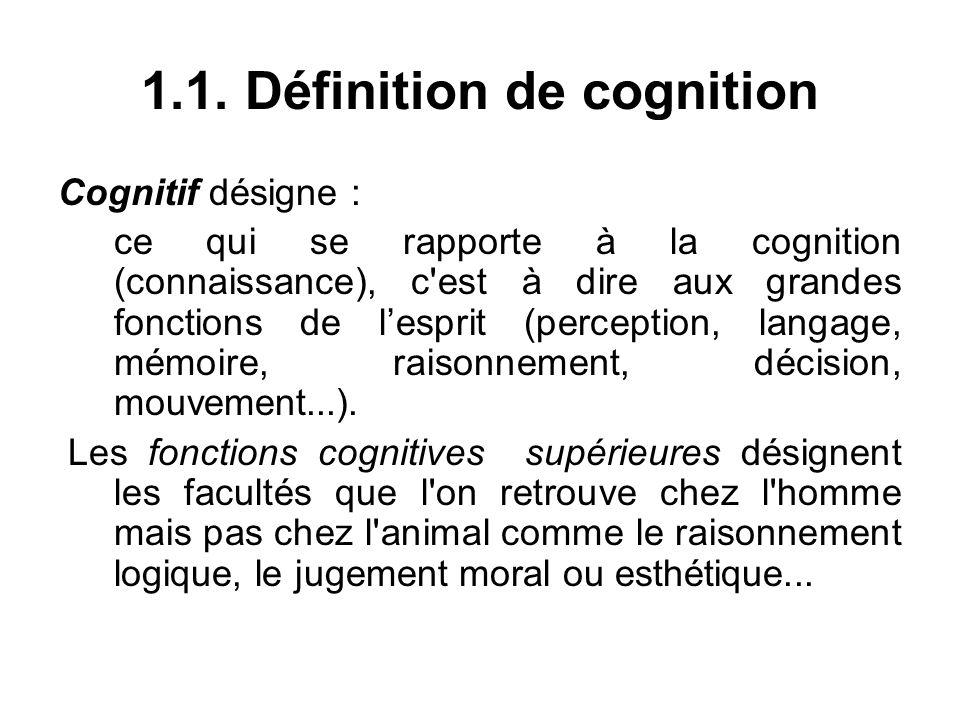 1.1. Définition de cognition