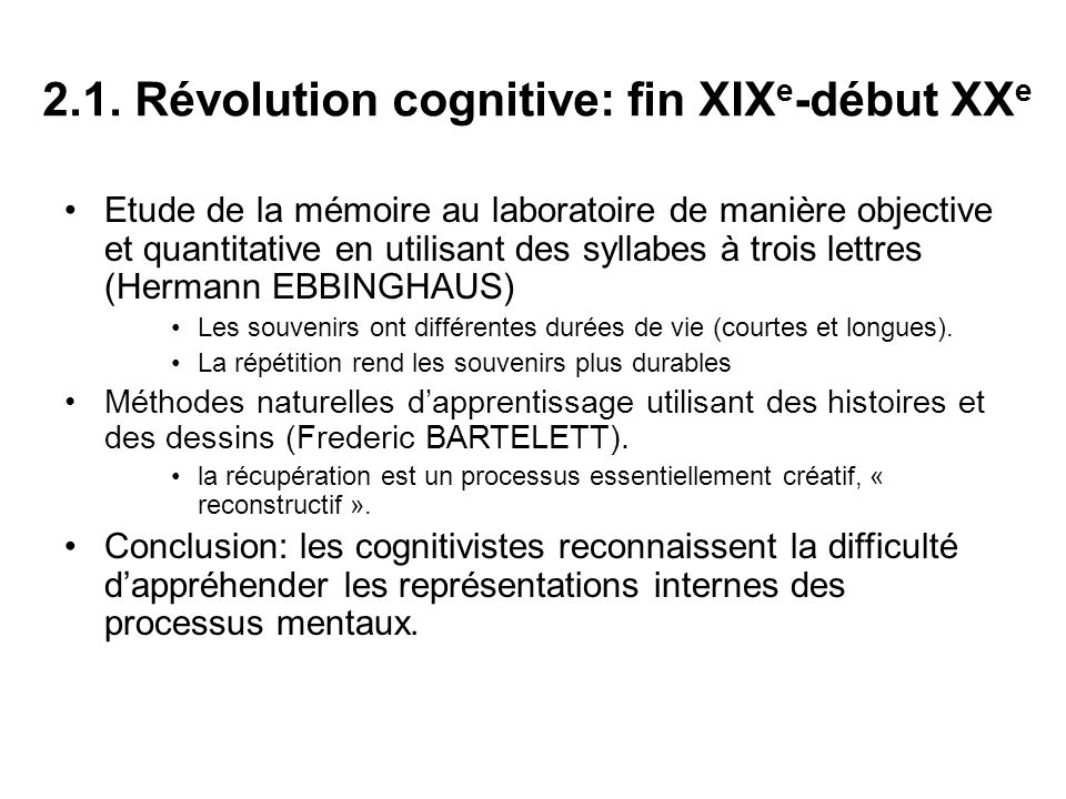 2.1. Révolution cognitive: fin XIXe-début XXe