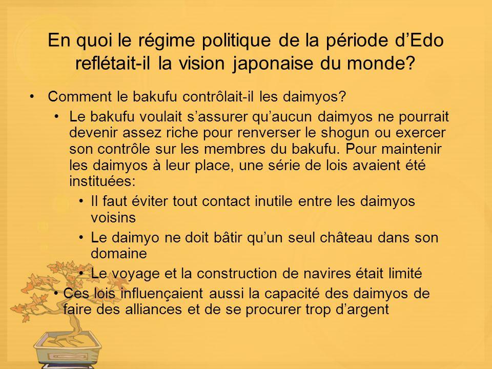 En quoi le régime politique de la période d'Edo reflétait-il la vision japonaise du monde
