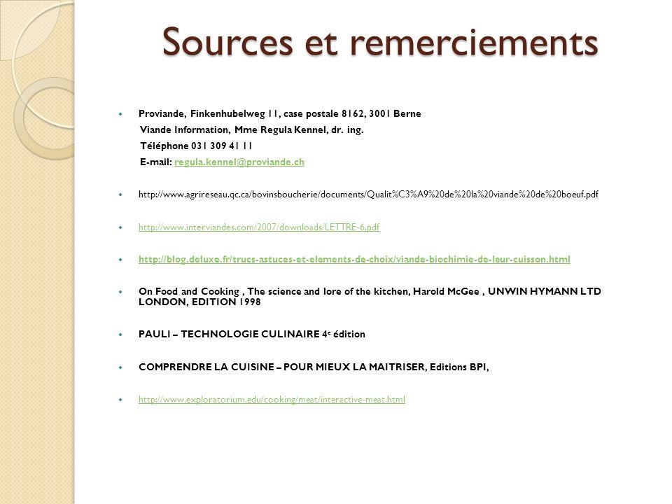 Sources et remerciements