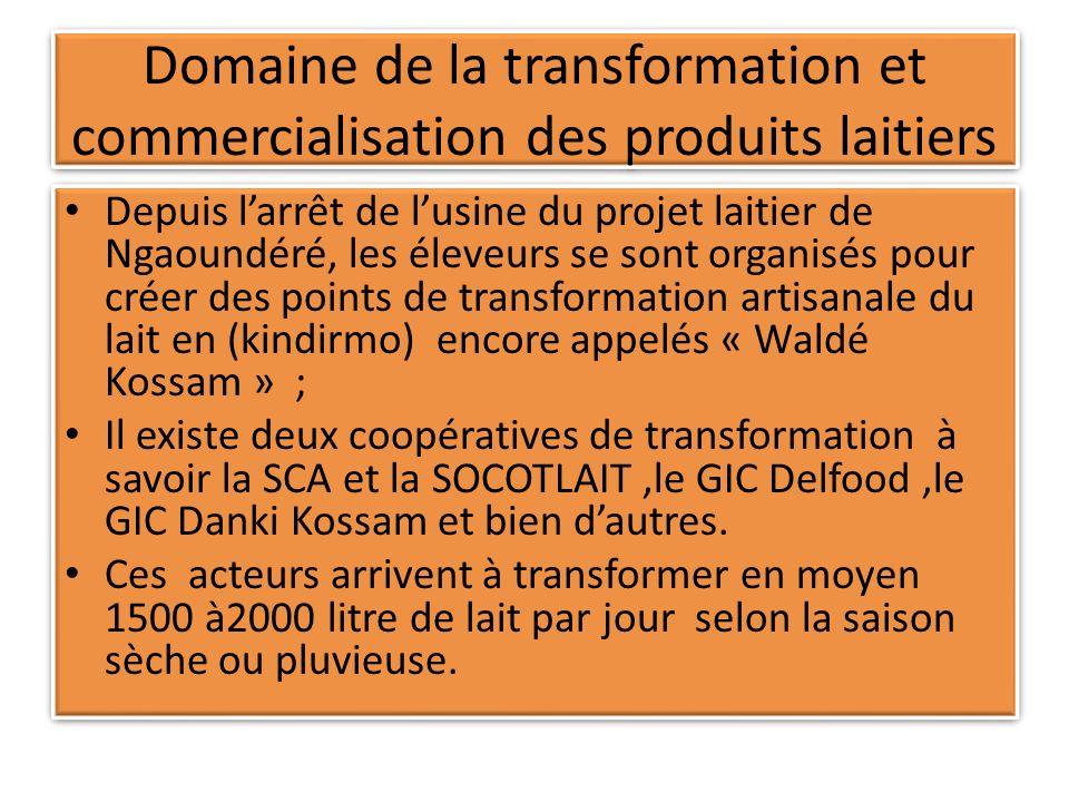 Domaine de la transformation et commercialisation des produits laitiers