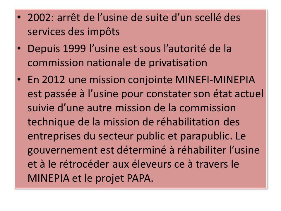 2002: arrêt de l'usine de suite d'un scellé des services des impôts