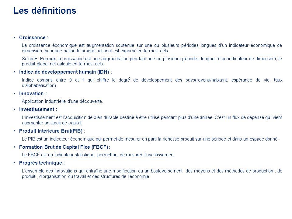 Les définitions Croissance : Indice de développement humain (IDH) :