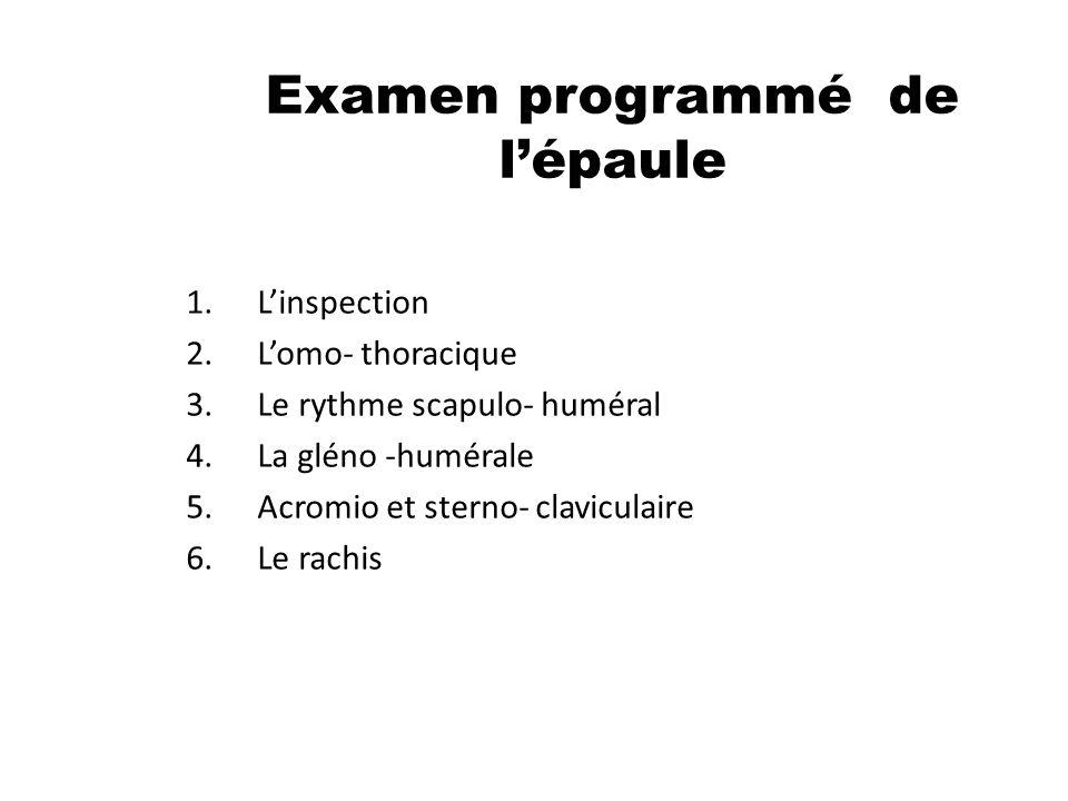 Examen programmé de l'épaule