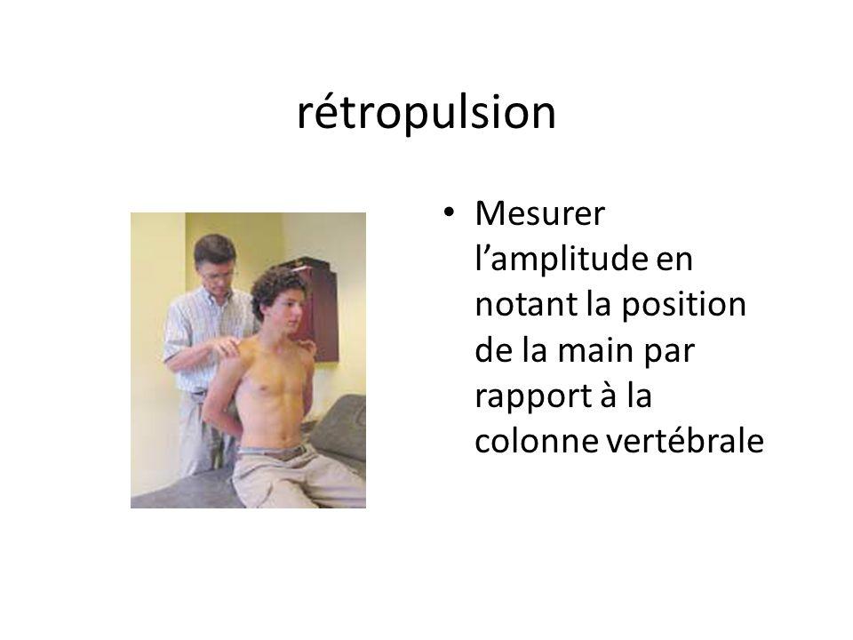 rétropulsion Mesurer l'amplitude en notant la position de la main par rapport à la colonne vertébrale.