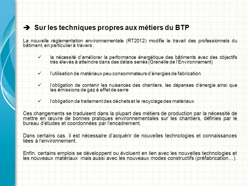  Sur les techniques propres aux métiers du BTP