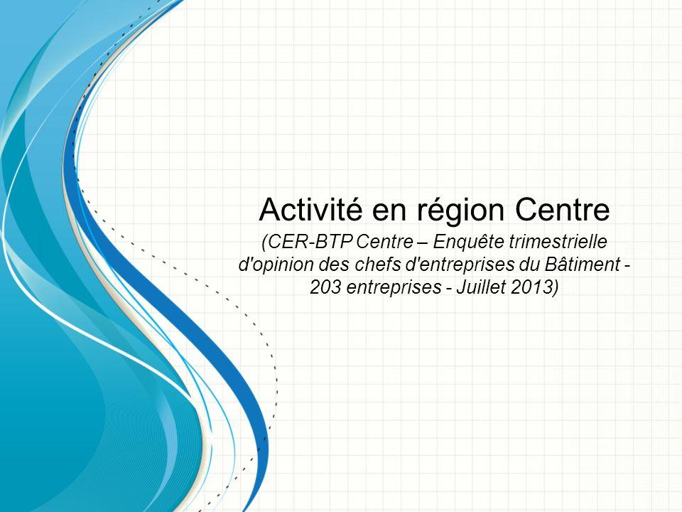 Activité en région Centre (CER-BTP Centre – Enquête trimestrielle d opinion des chefs d entreprises du Bâtiment - 203 entreprises - Juillet 2013)