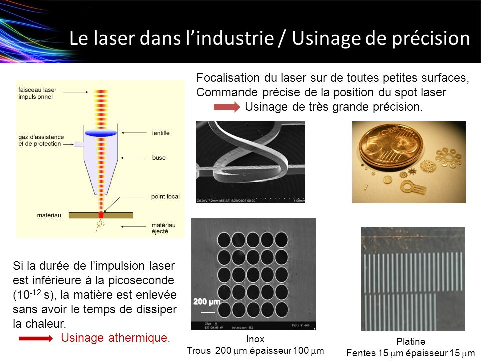 Le laser dans l'industrie / Usinage de précision