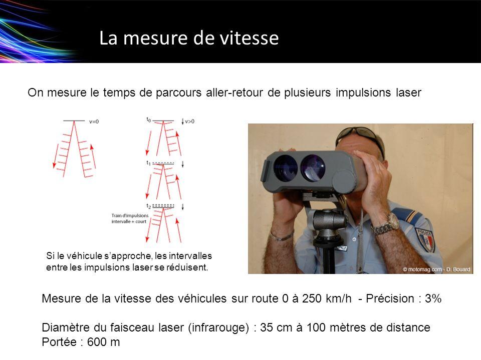 La mesure de vitesse On mesure le temps de parcours aller-retour de plusieurs impulsions laser.
