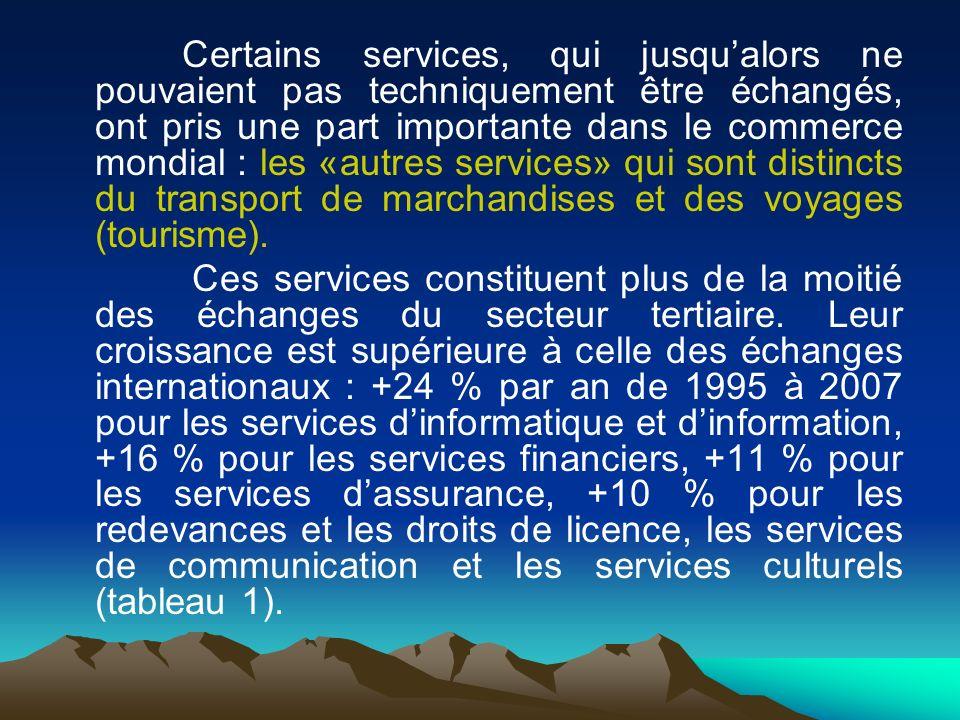 Certains services, qui jusqu'alors ne pouvaient pas techniquement être échangés, ont pris une part importante dans le commerce mondial : les «autres services» qui sont distincts du transport de marchandises et des voyages (tourisme).