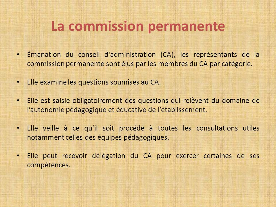 La commission permanente