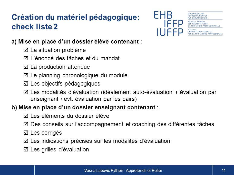 Création du matériel pédagogique: check liste 2