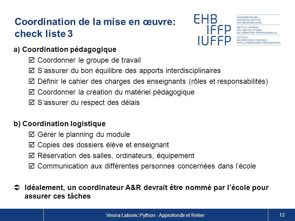 Coordination de la mise en œuvre: check liste 3