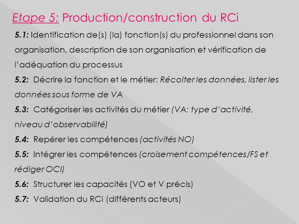 Etape 5: Production/construction du RCi