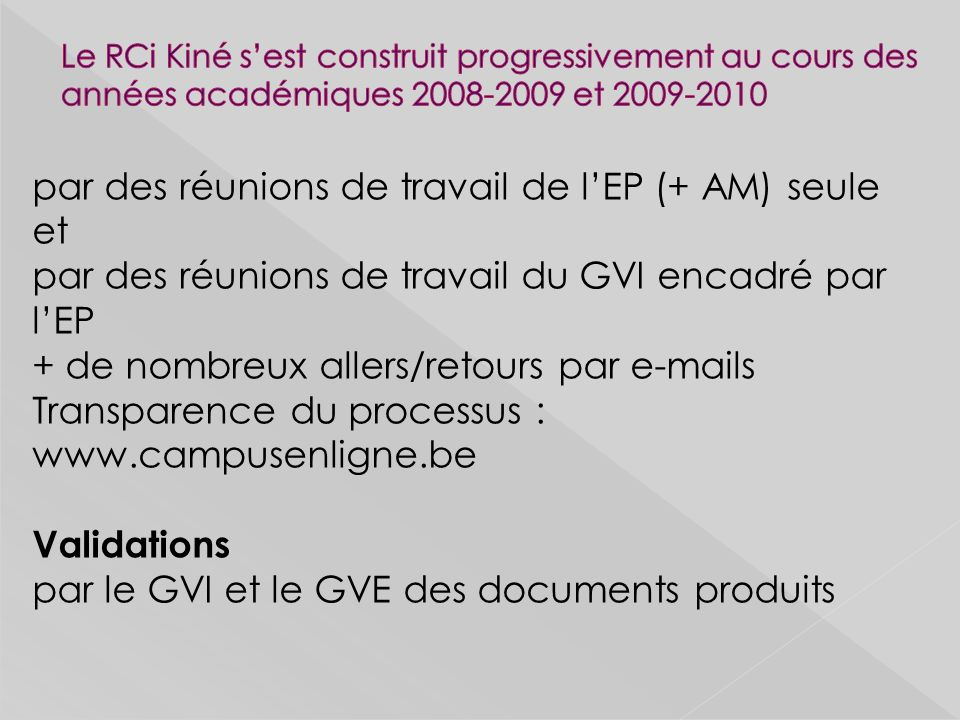 Validations par le GVI et le GVE des documents produits