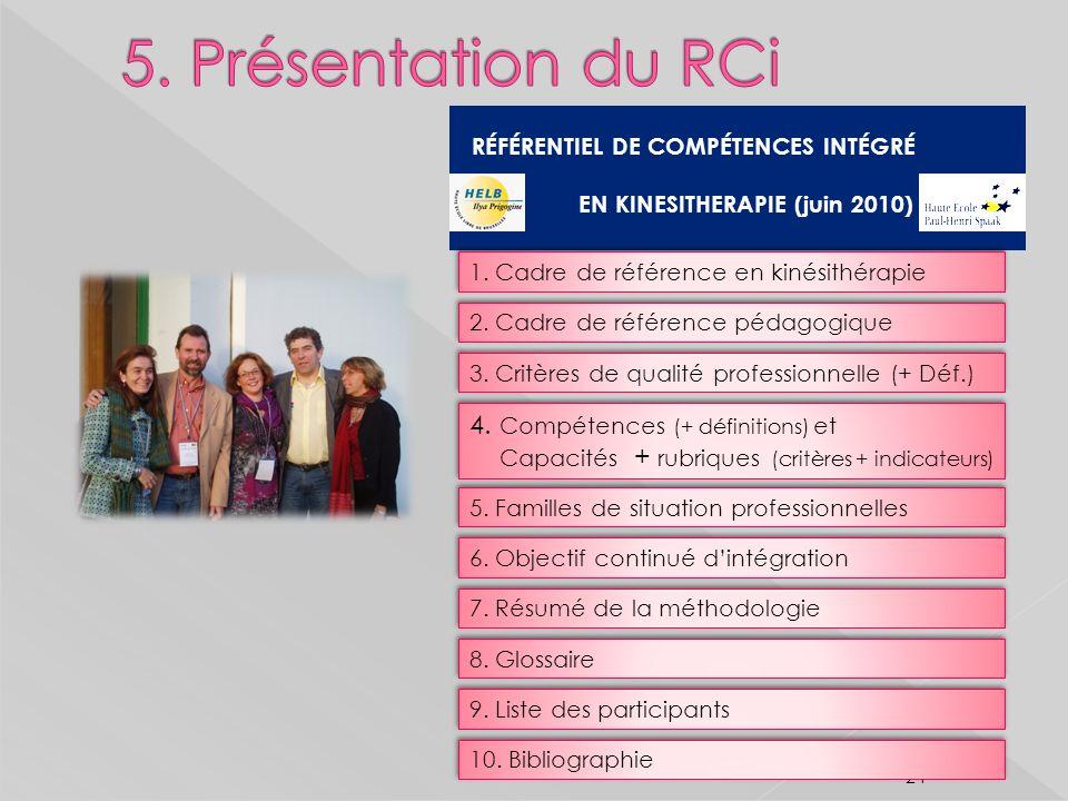 5. Présentation du RCi RÉFÉRENTIEL DE COMPÉTENCES INTÉGRÉ. EN KINESITHERAPIE (juin 2010) 1. Cadre de référence en kinésithérapie.