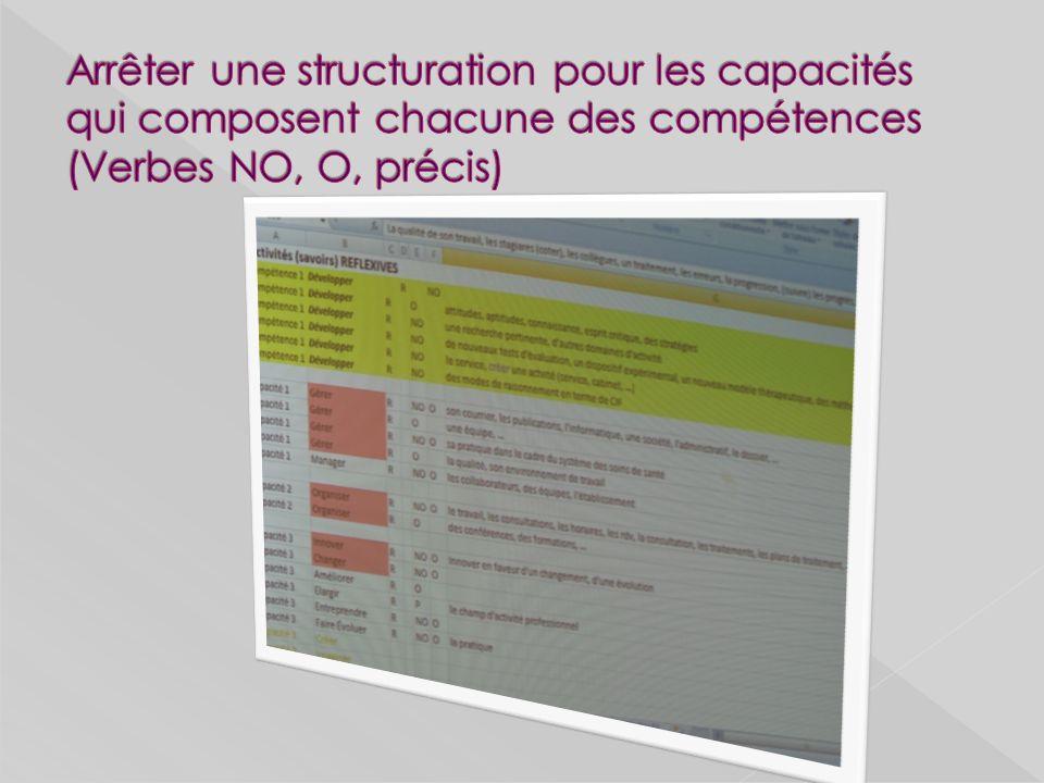 Arrêter une structuration pour les capacités qui composent chacune des compétences (Verbes NO, O, précis)