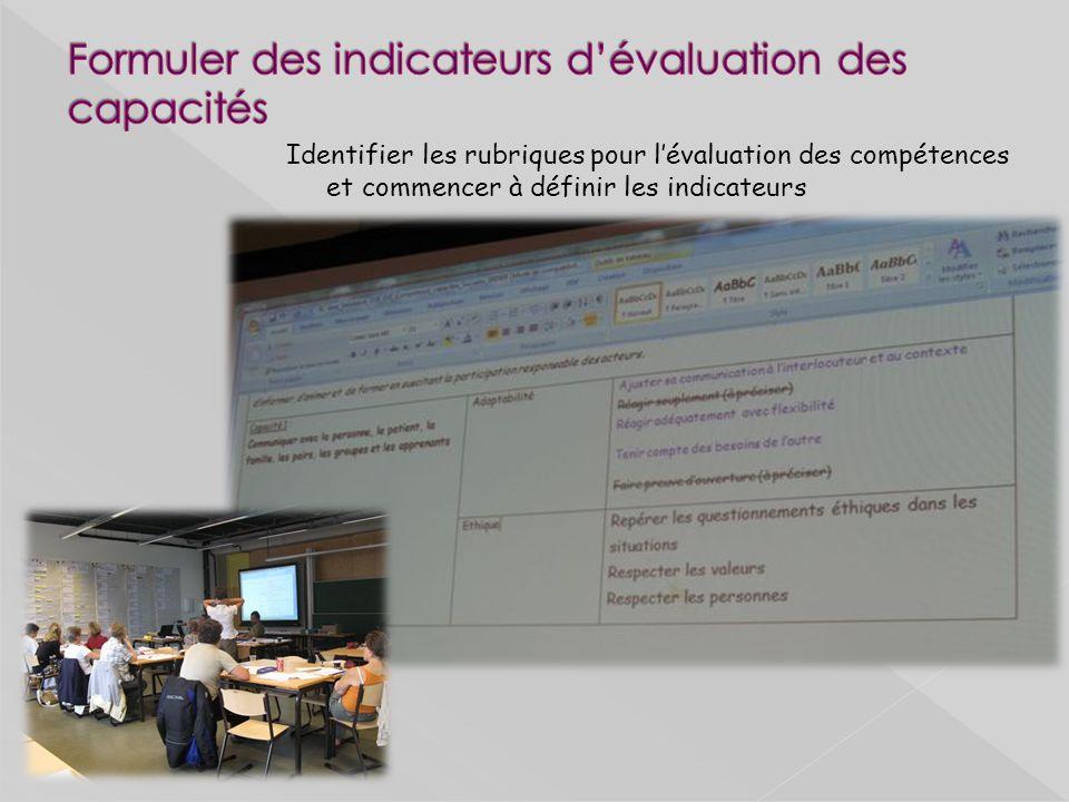 Formuler des indicateurs d'évaluation des capacités