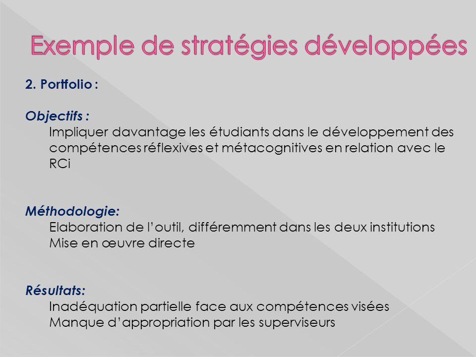 Exemple de stratégies développées