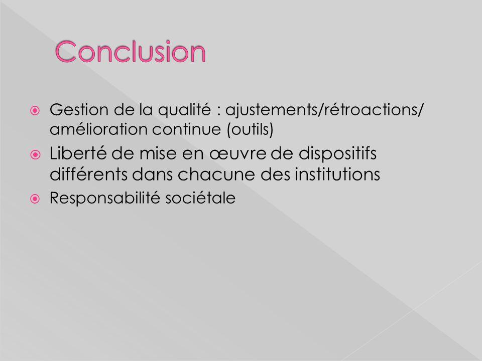 Conclusion Gestion de la qualité : ajustements/rétroactions/ amélioration continue (outils)