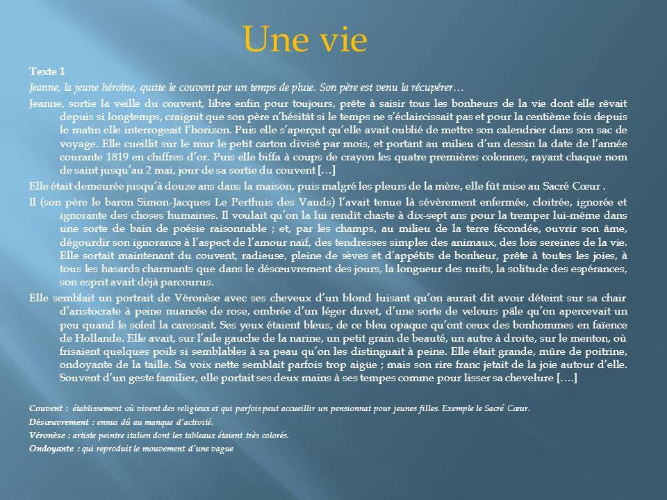 Une vie Texte 1. Jeanne, la jeune héroïne, quitte le couvent par un temps de pluie. Son père est venu la récupérer…