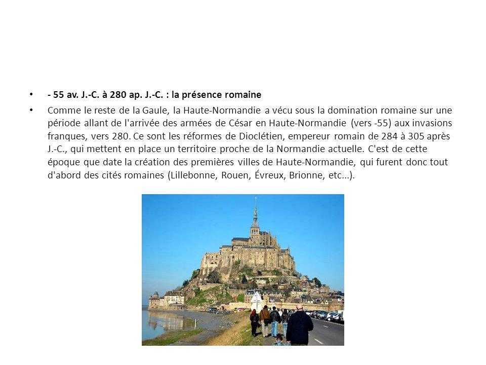 - 55 av. J.-C. à 280 ap. J.-C. : la présence romaine