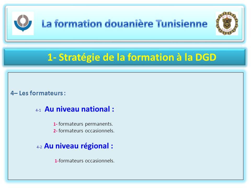 1- Stratégie de la formation à la DGD