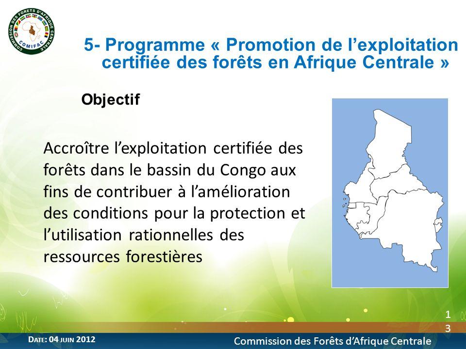5- Programme « Promotion de l'exploitation certifiée des forêts en Afrique Centrale »