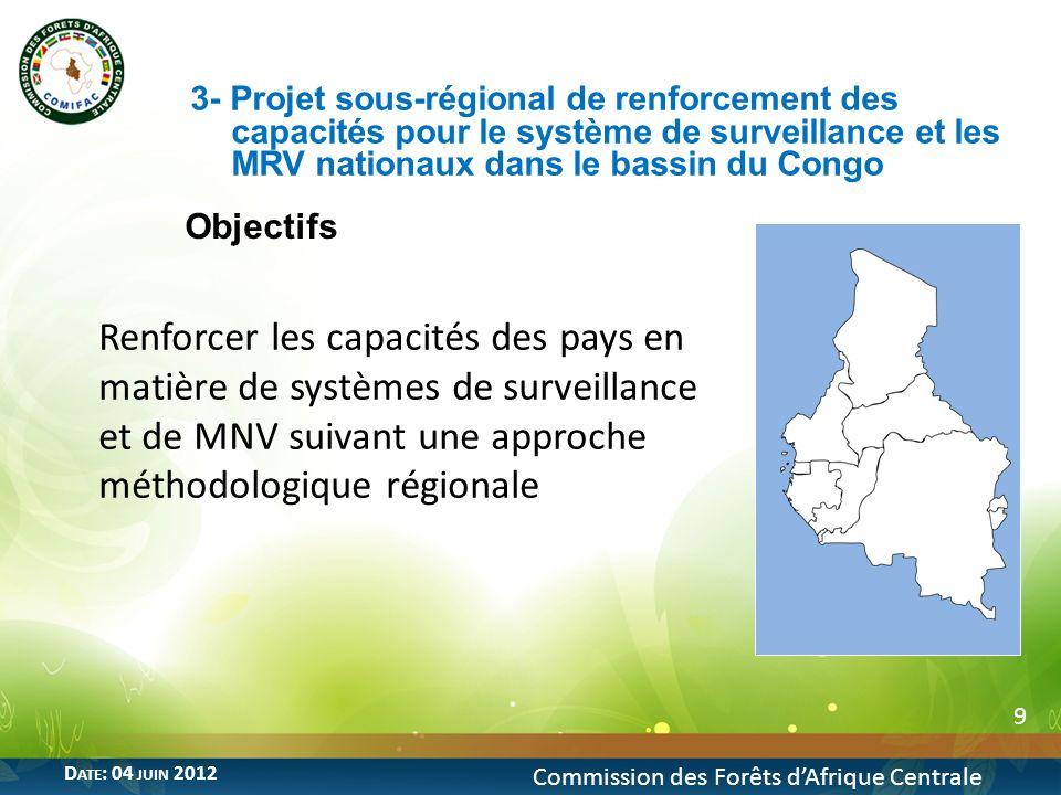3- Projet sous-régional de renforcement des capacités pour le système de surveillance et les MRV nationaux dans le bassin du Congo