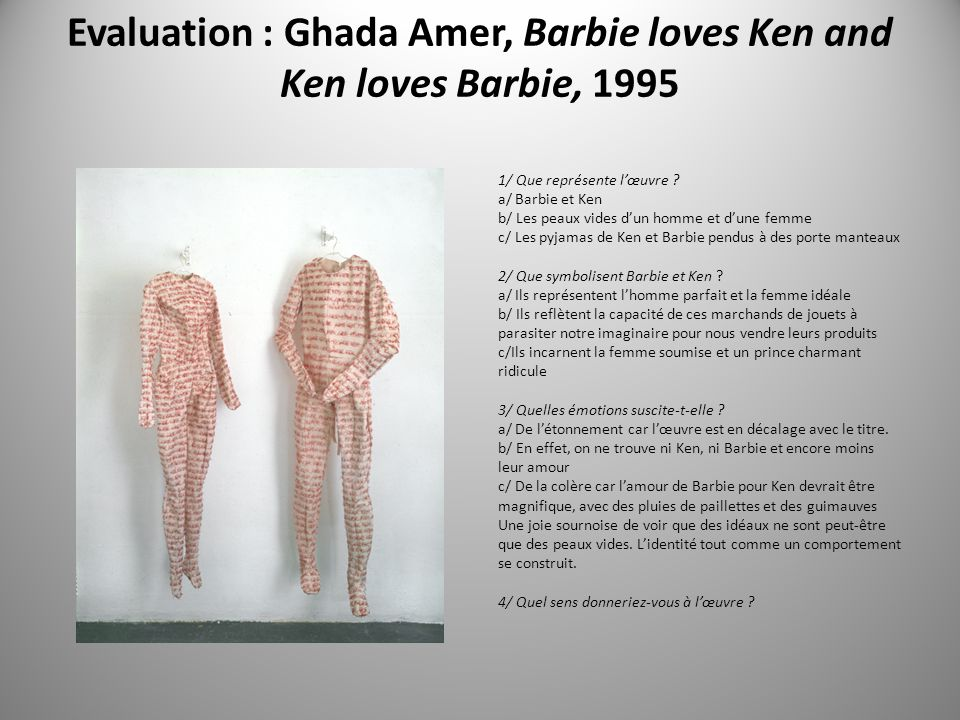 Evaluation : Ghada Amer, Barbie loves Ken and Ken loves Barbie, 1995