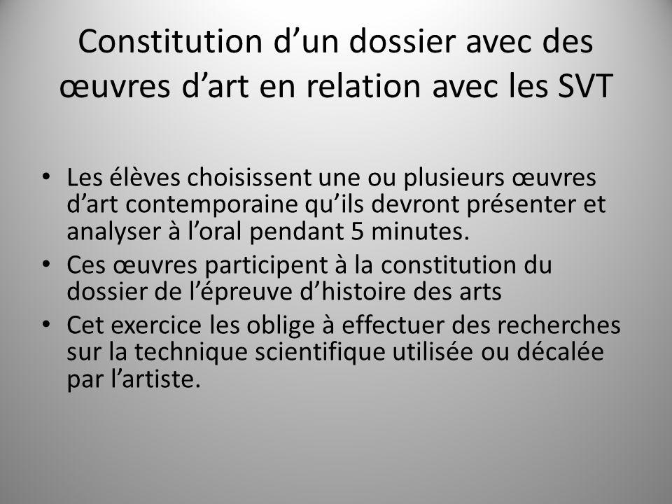 Constitution d'un dossier avec des œuvres d'art en relation avec les SVT