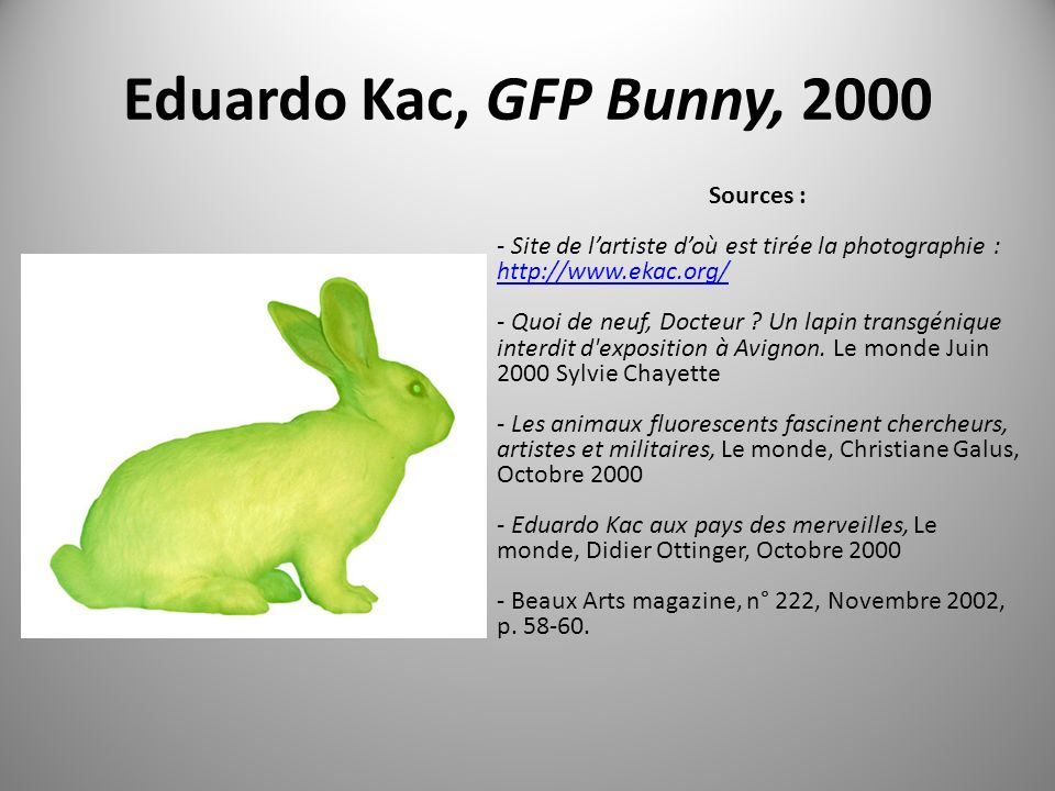 Eduardo Kac, GFP Bunny, 2000 Sources :