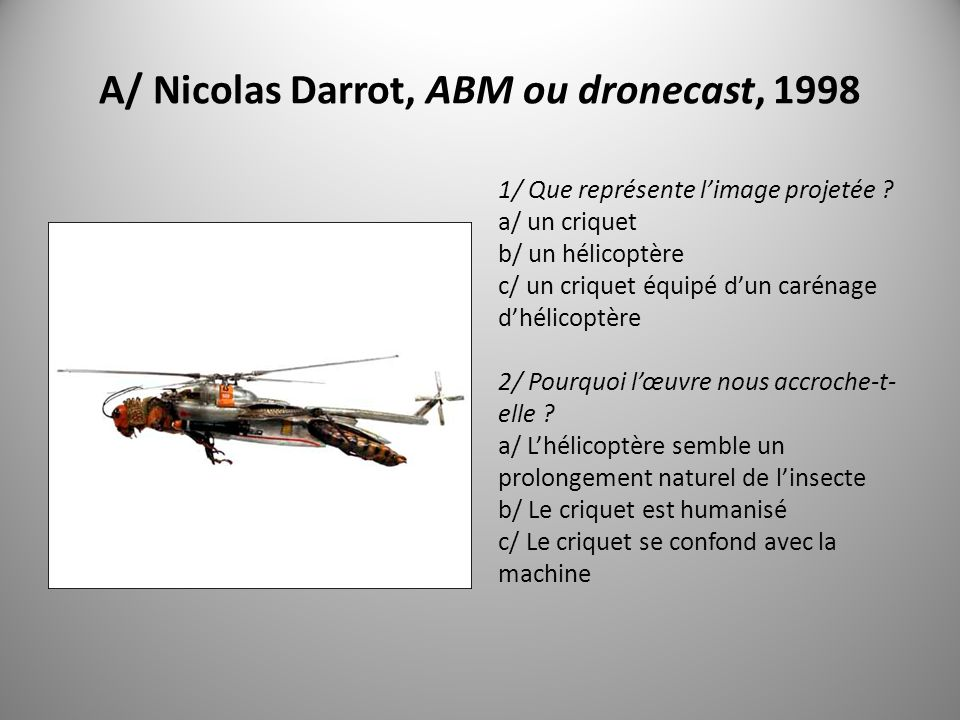 A/ Nicolas Darrot, ABM ou dronecast, 1998