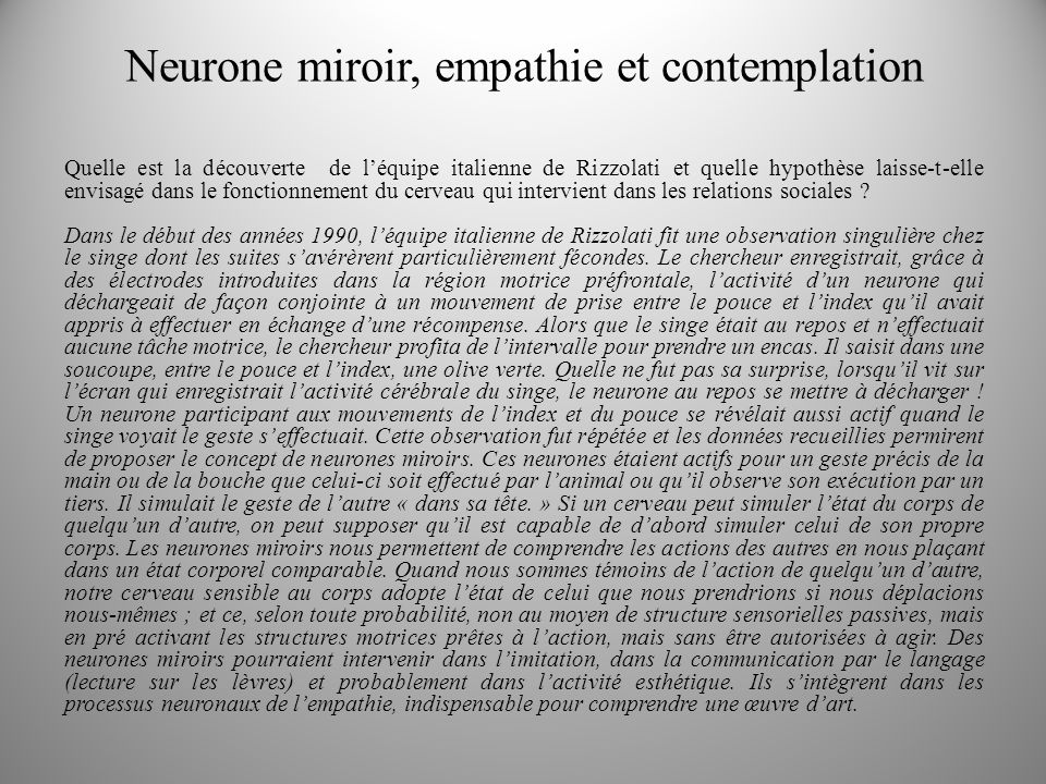 Neurone miroir, empathie et contemplation