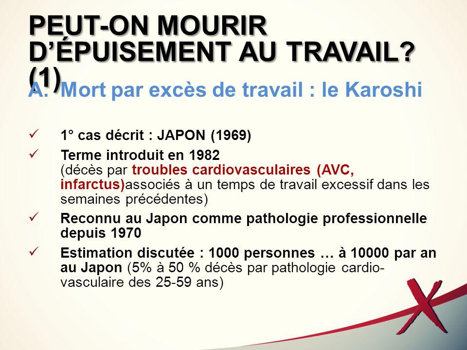 PEUT-ON MOURIR D'ÉPUISEMENT AU TRAVAIL (1)