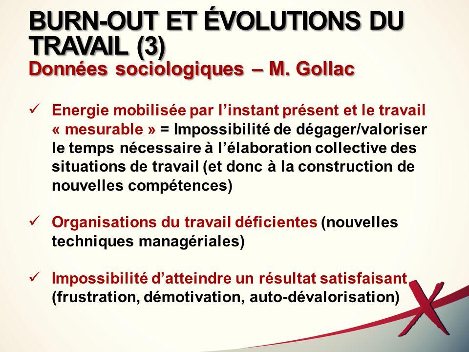 BURN-OUT ET ÉVOLUTIONS DU TRAVAIL (3) Données sociologiques – M. Gollac