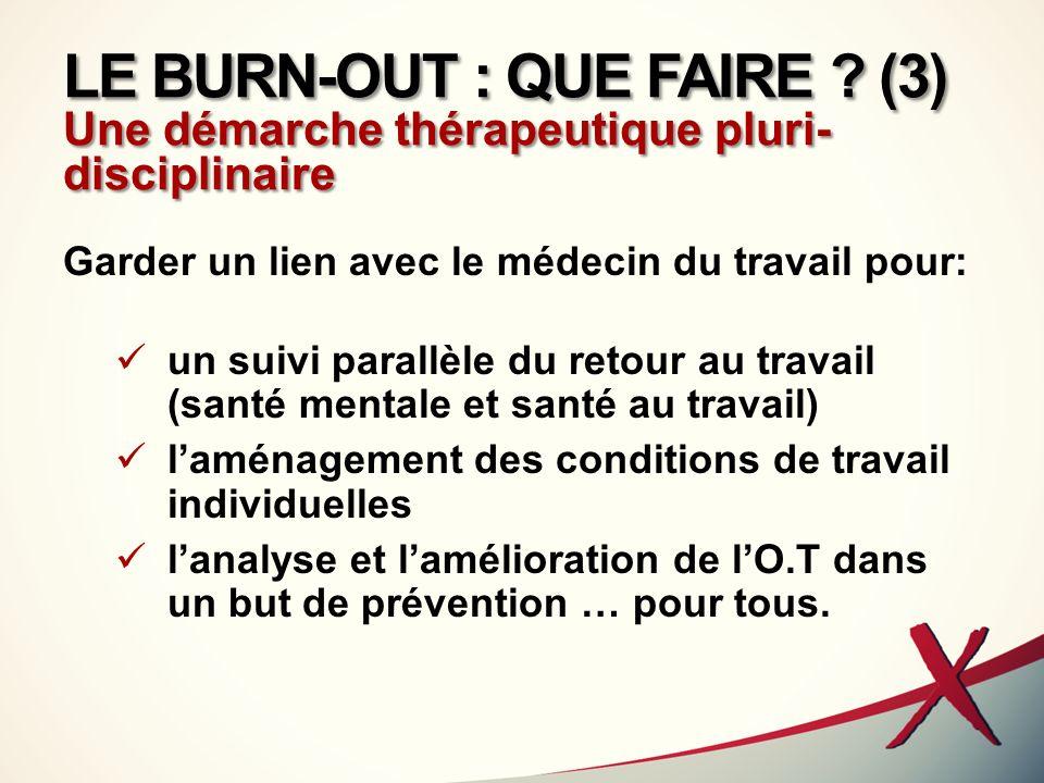 LE BURN-OUT : QUE FAIRE (3) Une démarche thérapeutique pluri-disciplinaire