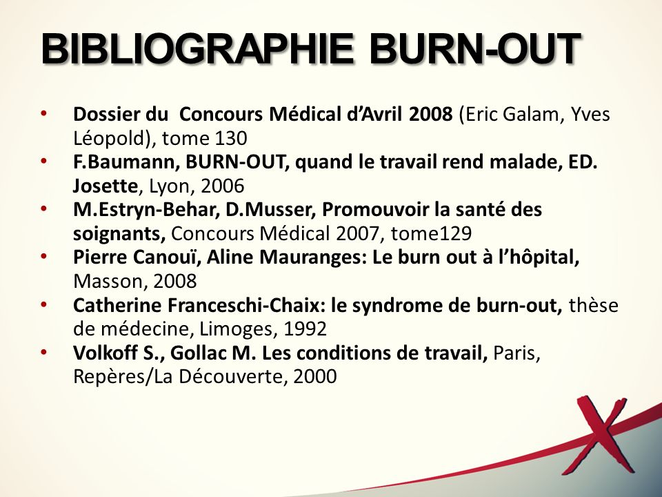 BIBLIOGRAPHIE BURN-OUT