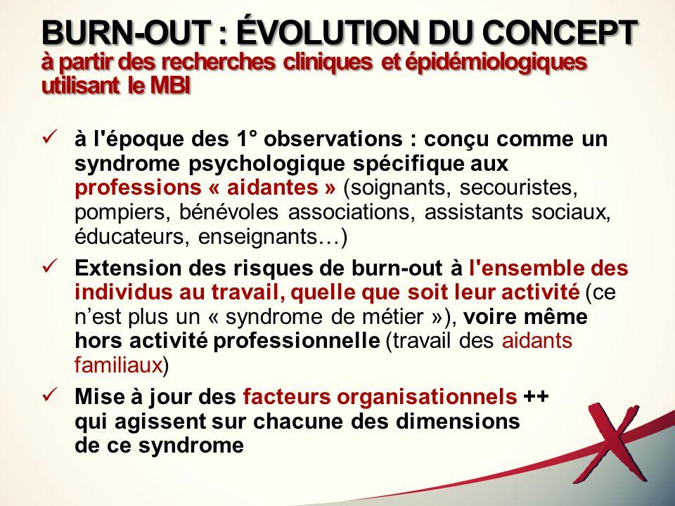 BURN-OUT : ÉVOLUTION DU CONCEPT à partir des recherches cliniques et épidémiologiques utilisant le MBI